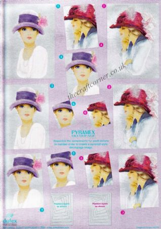 Elegant Ladies In Hats With A Flower & Feather Pyramex Dufex 3d Decoupage Pyramid Sheet